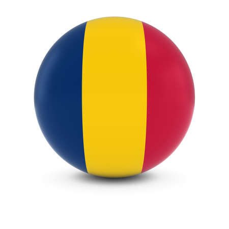 chadian: Chadian Flag Ball - Flag of Chad on Isolated Sphere Stock Photo