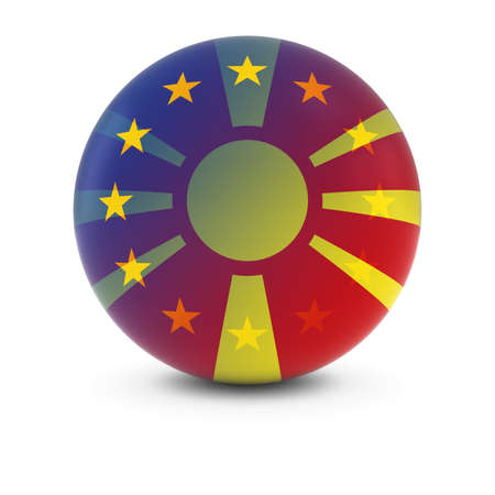 merge together: Macedonian and European Flag Ball - Fading Flags of Macedonia and the EU