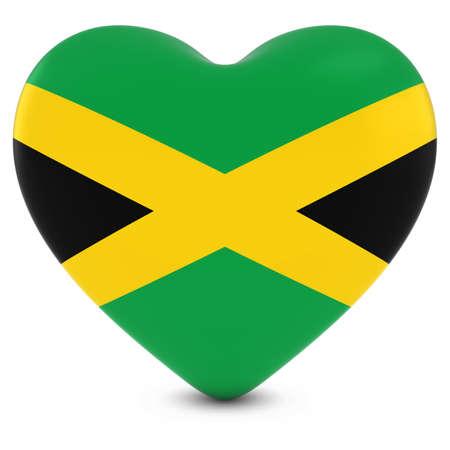 jamaican flag: Love Jamaica Concept Image - Heart textured with Jamaican Flag