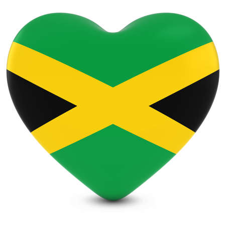 Love Jamaica Concept Image - Heart textured with Jamaican Flag