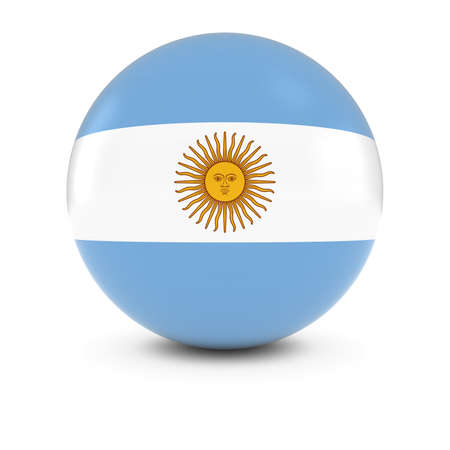 argentinian flag: Argentinian Flag Ball - Flag of Argentina on Isolated Sphere