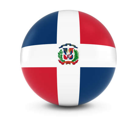 dominican: Dominican Flag Ball - Flag of the Dominican Republic on Isolated Sphere