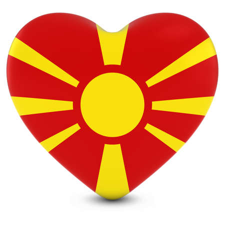 macedonian flag: Love Macedonia Concept Image - Heart textured with Macedonian Flag Stock Photo