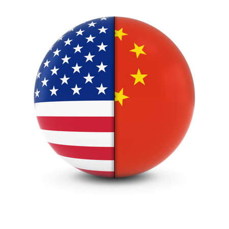 chinese american: American and Chinese Flag Ball - Split Flags of the USA and China