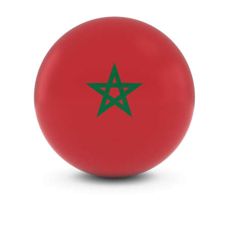 three dimensional shape: Moroccan Flag Ball - Flag of Morocco on Isolated Sphere
