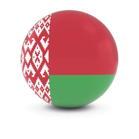 three dimensional shape: Belarusian Flag Ball - Flag of Belarus on Isolated Sphere Stock Photo