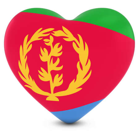 eritrea: Love Eritrea Concept Image - Heart textured with Eritrean Flag Stock Photo