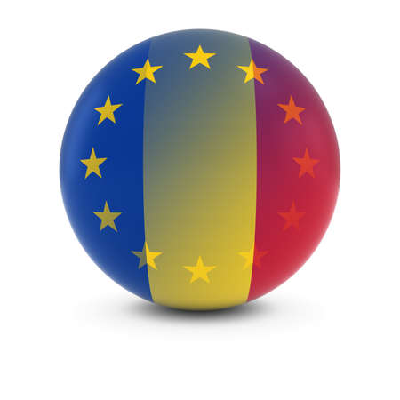 merge together: Romanian and European Flag Ball - Fading Flags of Romania and the EU