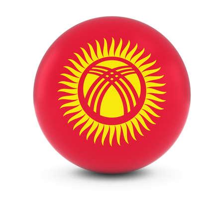 kyrgyzstan: Kyrgyzstani Flag Ball - Flag of Kyrgyzstan on Isolated Sphere