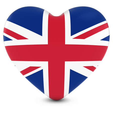 bandera reino unido: Amor Breta�a imagen del concepto - Coraz�n con textura con la bandera del Reino Unido