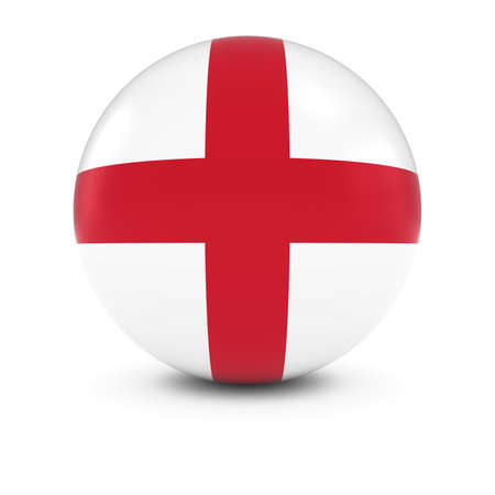 bandiera inglese: English Flag Ball - Bandiera dell'Inghilterra isolati Sphere Archivio Fotografico