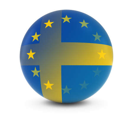 swedish: Swedish and European Flag Ball - Fading Flags of Sweden and the EU