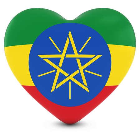 ethiopian: Love Ethiopia Concept Image - Heart textured with Ethiopian Flag
