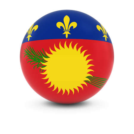 guadeloupe: Guadeloupe Flag Ball - Flag of Guadeloupe on Isolated Sphere