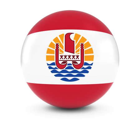 tahitian: Tahitian Flag Ball - Flag of Tahiti on Isolated Sphere Stock Photo