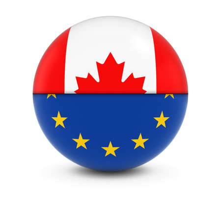 canadian flag: Canadian and European Flag Ball - Split Flags of Canada and the EU Stock Photo