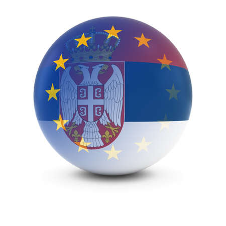 fading: Serbian and European Flag Ball - Fading Flags of Serbia and the EU