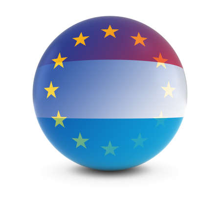 fading: Luxembourgian and European Flag Ball - Fading Flags of Luxembourg and the EU Stock Photo