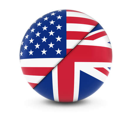 american flags: American and British Flag Ball - Split Flags of the USA and the UK