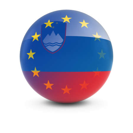 fading: Slovenian and European Flag Ball - Fading Flags of Slovenia and the EU Stock Photo