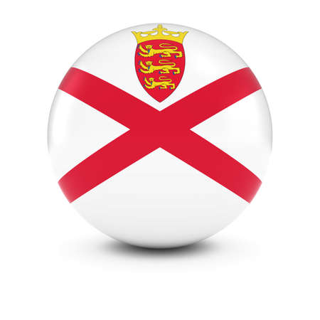 jersey: Jersey Flag Ball - Flag of Jersey on Isolated Sphere Stock Photo