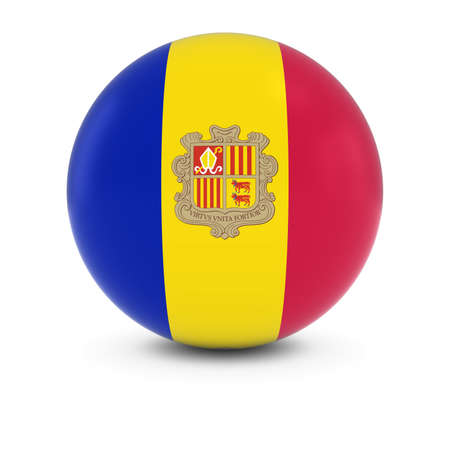 three dimensional   shape: Andorran Flag Ball - Flag of Andorra on Isolated Sphere