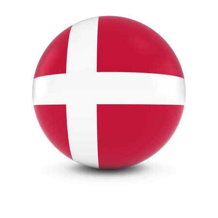 danish flag: Danish Flag Ball - Flag of Denmark on Isolated Sphere