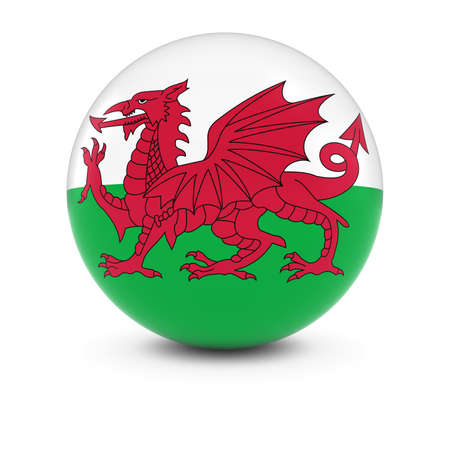 wales: Welsh Flag Ball - Flag of Wales on Isolated Sphere Stock Photo
