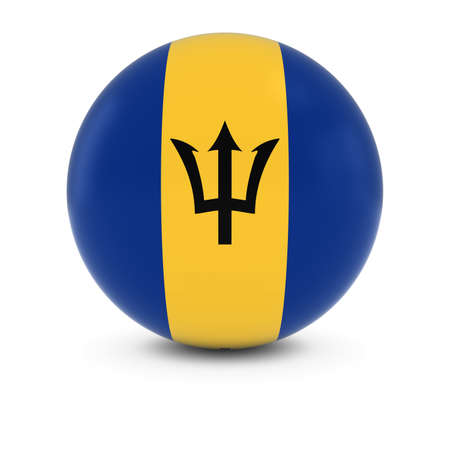 barbadian: Barbadian Flag Ball - Flag of Barbados on Isolated Sphere Stock Photo