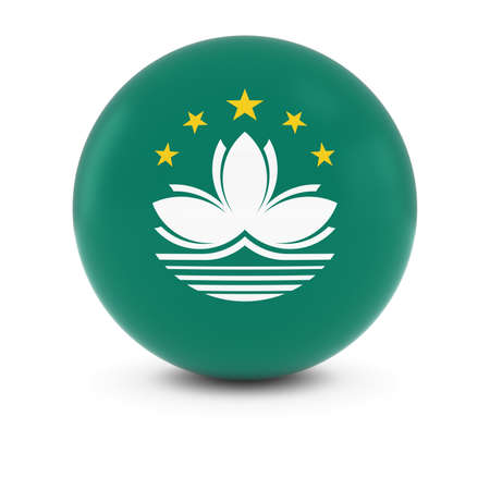 macau: Macanese Flag Ball - Flag of Macau on Isolated Sphere