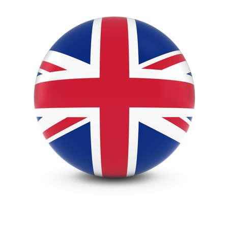英国国旗ボール - 孤立した球面上イギリスの旗