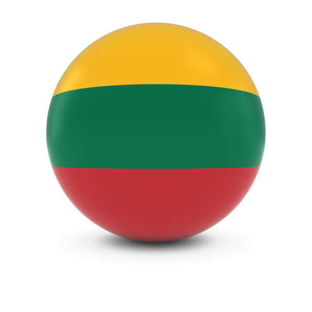three dimensional shape: Lithuanian Flag Ball - Flag of Lithuania on Isolated Sphere