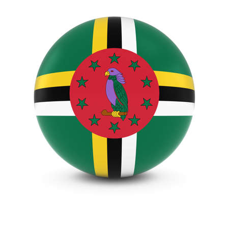 three dimensional   shape: Dominican Flag Ball - Flag of Dominica on Isolated Sphere