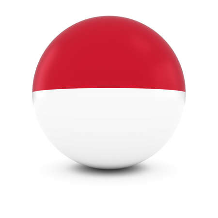 national flag indonesian flag: MonacanIndonesian Flag Ball - Flag of MonacoIndonesia on Isolated Sphere Stock Photo