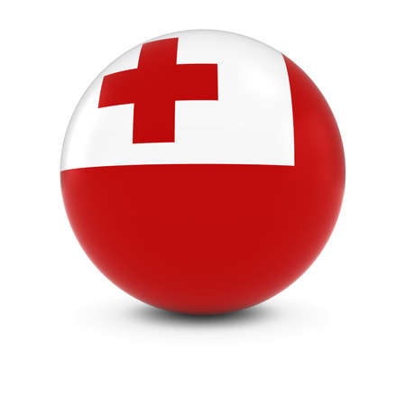 three dimensional shape: Tongan Flag Ball - Flag of Tonga on Isolated Sphere