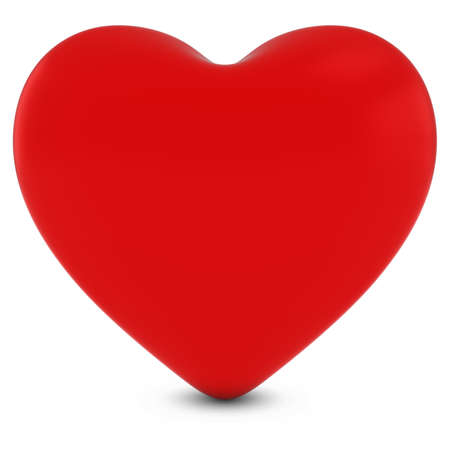 3d heart: Red 3D Heart Shape Isolated on White with Shadows
