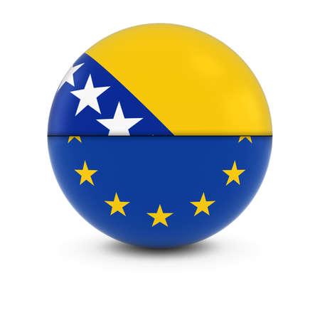 bosnian: Bosnian Herzegovinian and European Flag Ball - Split Flags of Bosnia Herzegovinia and the EU