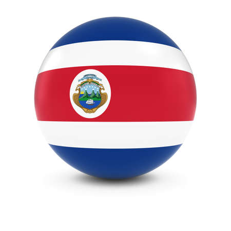 costa rican: Costa Rican Flag Ball - Flag of Costa Rica on Isolated Sphere Stock Photo