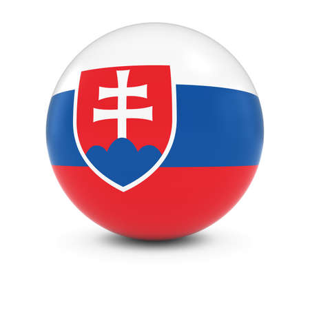 three dimensional: Slovakian Flag Ball - Flag of Slovakia on Isolated Sphere