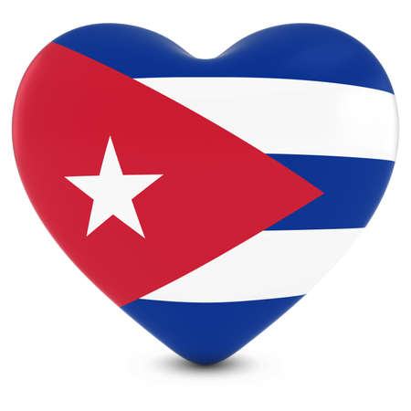 cuban flag: Love Cuba Concept Image - Heart textured with Cuban Flag Stock Photo
