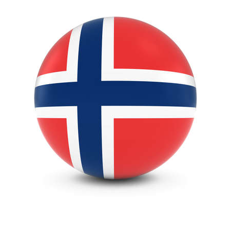 norwegian flag: Norwegian Flag Ball - Flag of Norway on Isolated Sphere