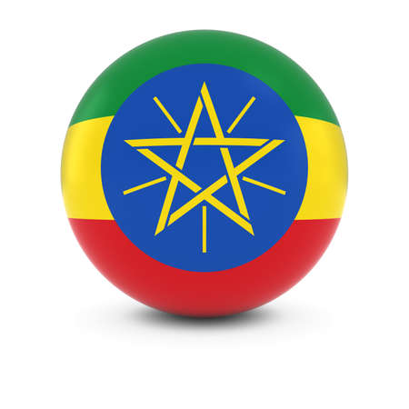 three dimensional shape: Ethiopian Flag Ball - Flag of Ethiopia on Isolated Sphere