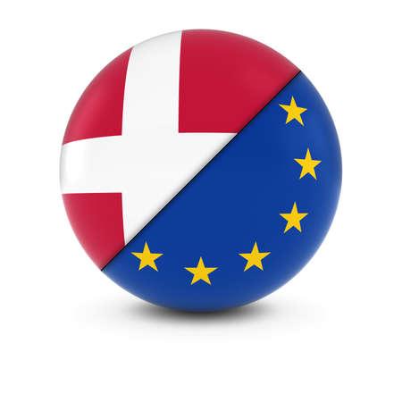 danish flag: Danish and European Flag Ball - Split Flags of Denmark and the EU