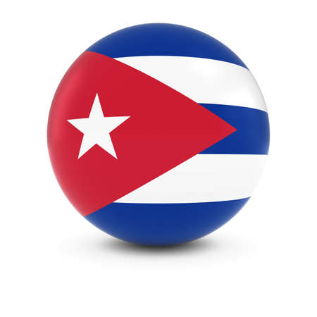 cuban flag: Cuban Flag Ball - Flag of Cuba on Isolated Sphere Stock Photo