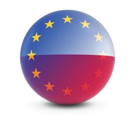 polish flag: Polish and European Flag Ball - Fading Flags of Poland and the EU Stock Photo
