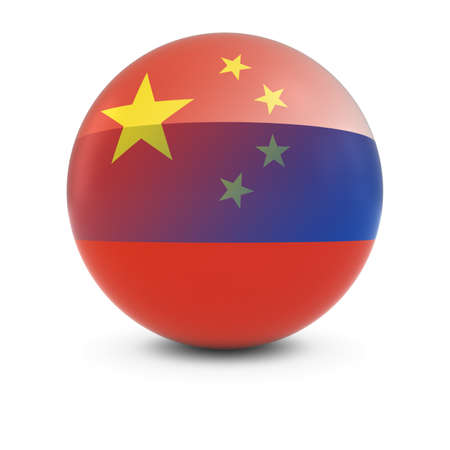russian flag: Chinese and Russian Flag Ball - Fading Flags of China and Russia