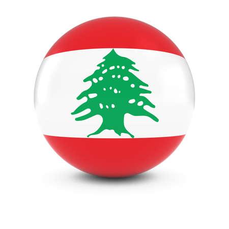 lebanon: Lebanese Flag Ball - Flag of Lebanon on Isolated Sphere