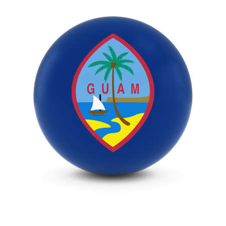 three dimensional shape: Guamanian Flag Ball - Flag of Guam on Isolated Sphere Stock Photo