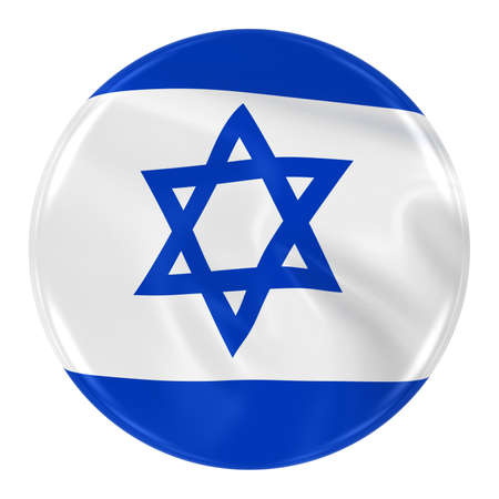 israeli flag: Waving Israeli Flag Badge - Button textured with the Flag of Israel Isolated on White