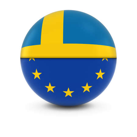 swedish: Swedish and European Flag Ball - Split Flags of Sweden and the EU Stock Photo